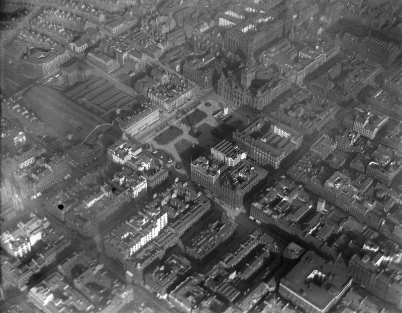 Glasgow, general view, showing George Square and City Chambers.  Oblique aerial photograph taken facing east.