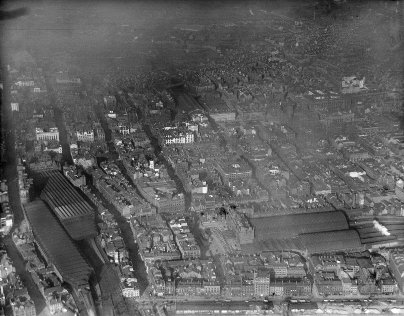 Glasgow, general view, showing Central and Queen Street Stations.  Oblique aerial photograph taken facing north-east.