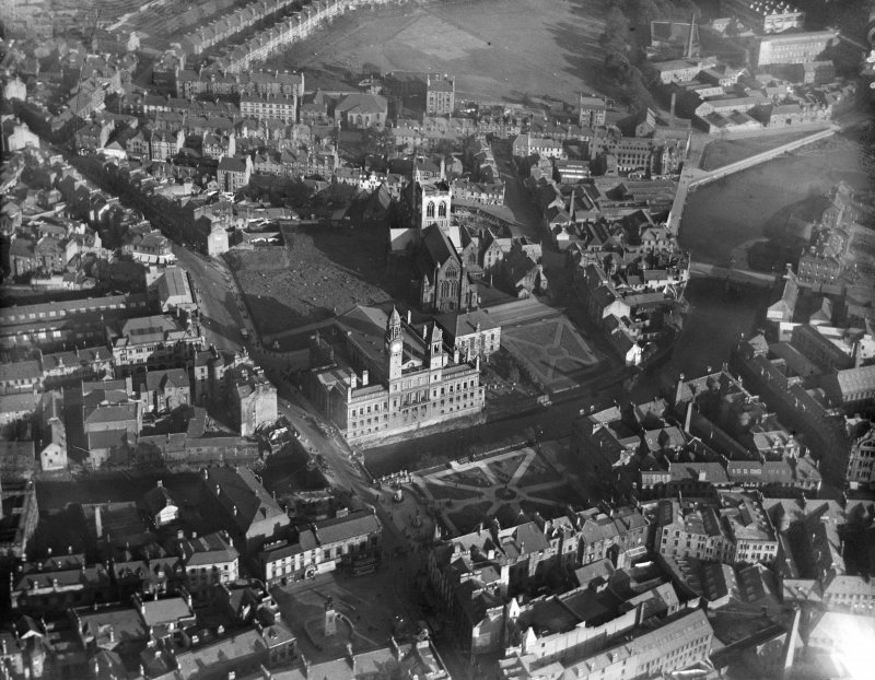 Paisley, general view, showing Paisley Town Hall and Paisley Abbey.  Oblique aerial photograph taken facing east.