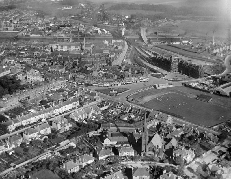 Ayr, general view, showing Burns Statue Square and Station Hotel.  Oblique aerial photograph taken facing east.