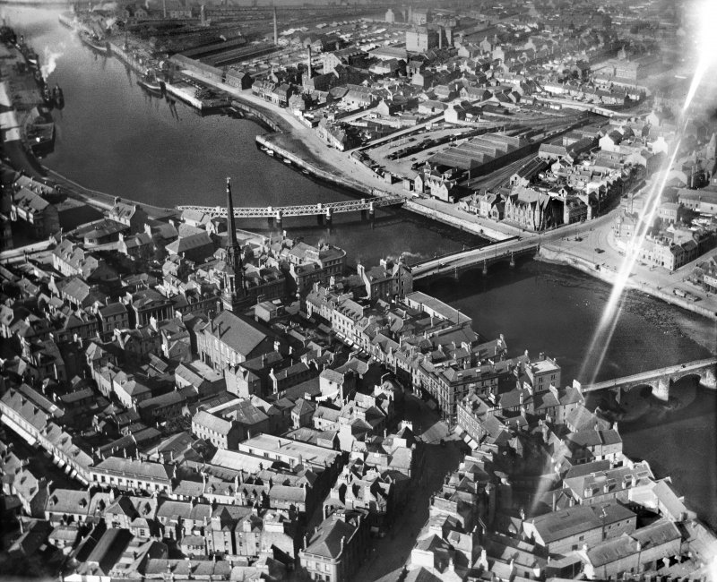Ayr, general view, showing New Bridge and Town Hall.  Oblique aerial photograph taken facing north.