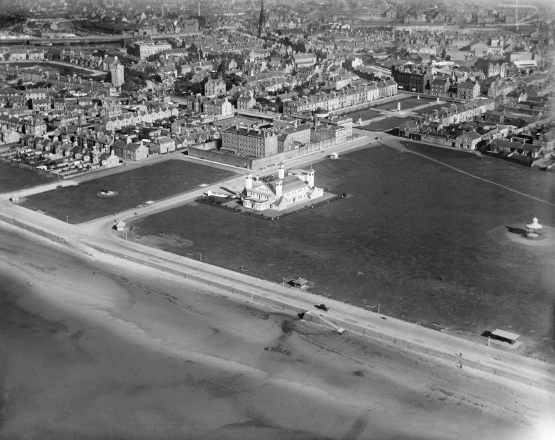 Ayr, general view, showing Ayr Pavilion and Esplanade.  Oblique aerial photograph taken facing east.