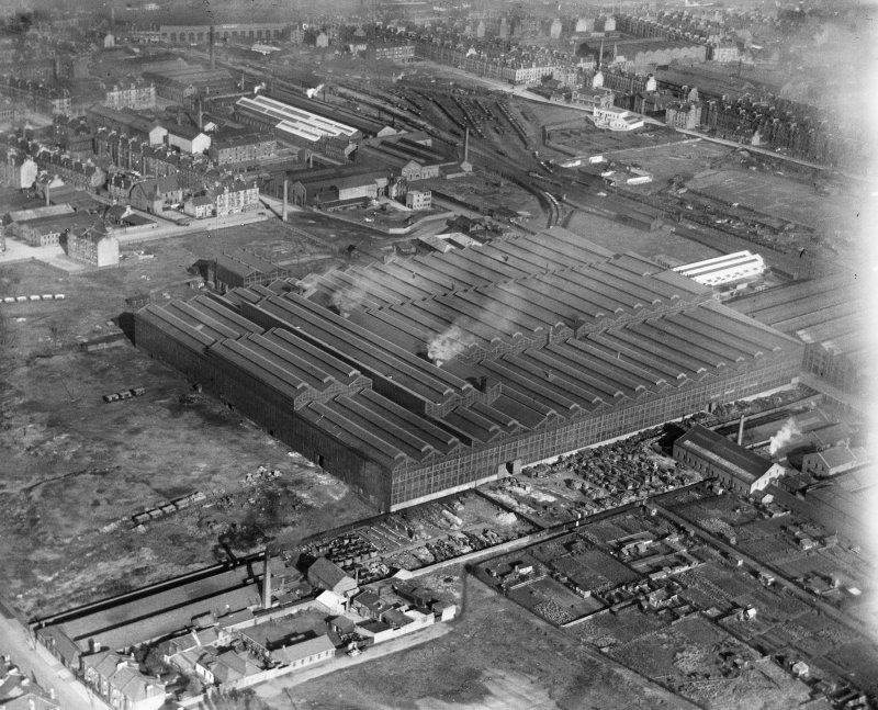Harland and Wolff Clyde Foundry, 184 Helen Street, Govan, Glasgow.  Oblique aerial photograph taken facing east.