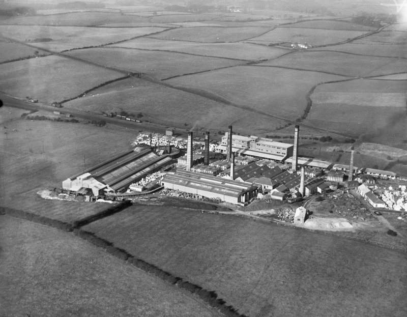Southhook Potteries Ltd., Western Road, Kilmarnock.  Oblique aerial photograph taken facing north.