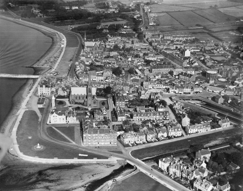 Largs, general view, showing Clark Memorial Church and Promenade.  Oblique aerial photograph taken facing north.
