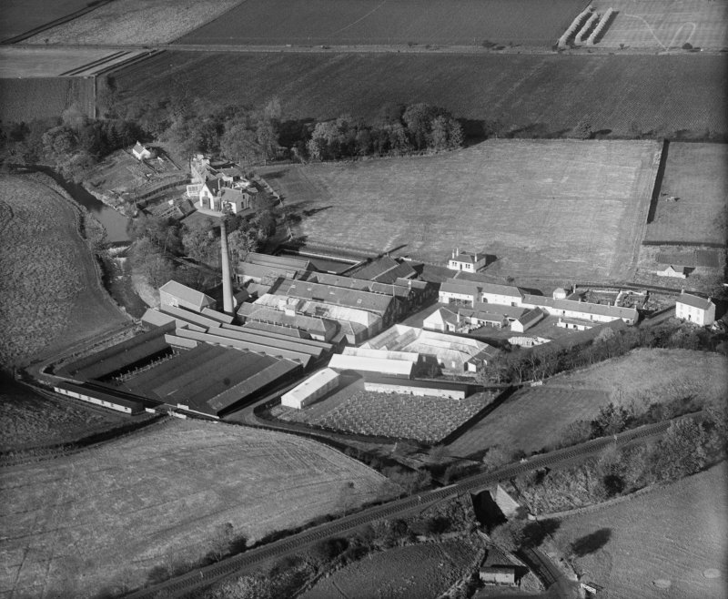Panmurefield Bleachworks, Broughty Ferry, Dundee.  Oblique aerial photograph taken facing north.