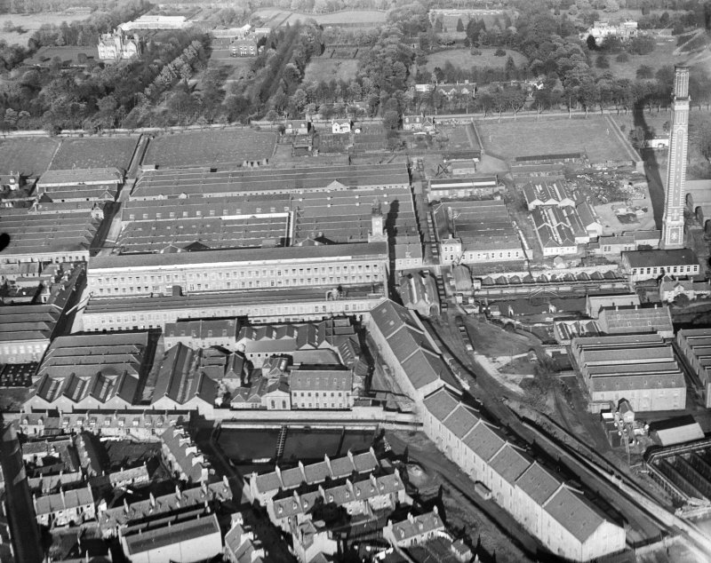 Camperdown Works and Cox's Stack, Methven Street, Lochee, Dundee.  Oblique aerial photograph taken facing north.