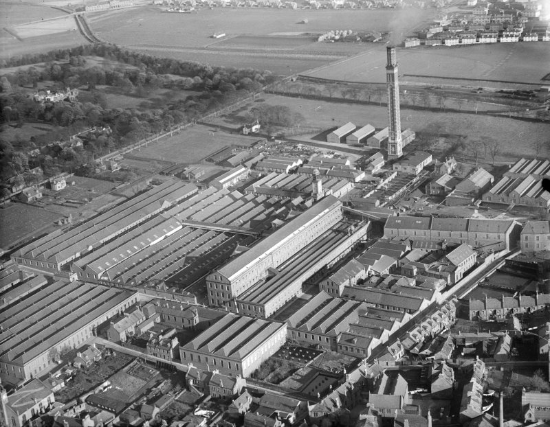 Camperdown Works and Cox's Stack, Methven Street, Lochee, Dundee.  Oblique aerial photograph taken facing east.