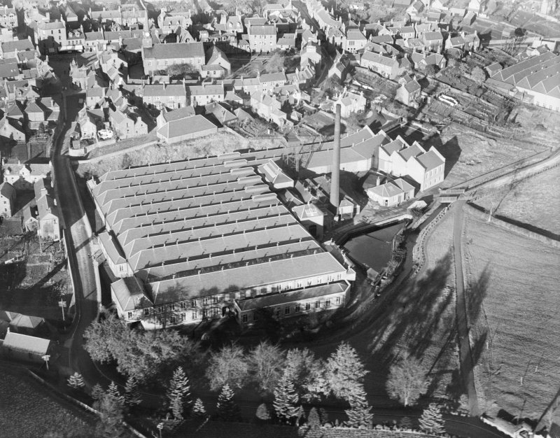 Gairie Works, Bellies Brae, Kirriemuir.  Oblique aerial photograph taken facing north.