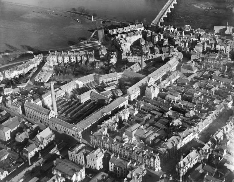 J Pullar and Sons Ltd. Dye Works, Kinnoull and Mill Streets, Perth.  Oblique aerial photograph taken facing north-east.