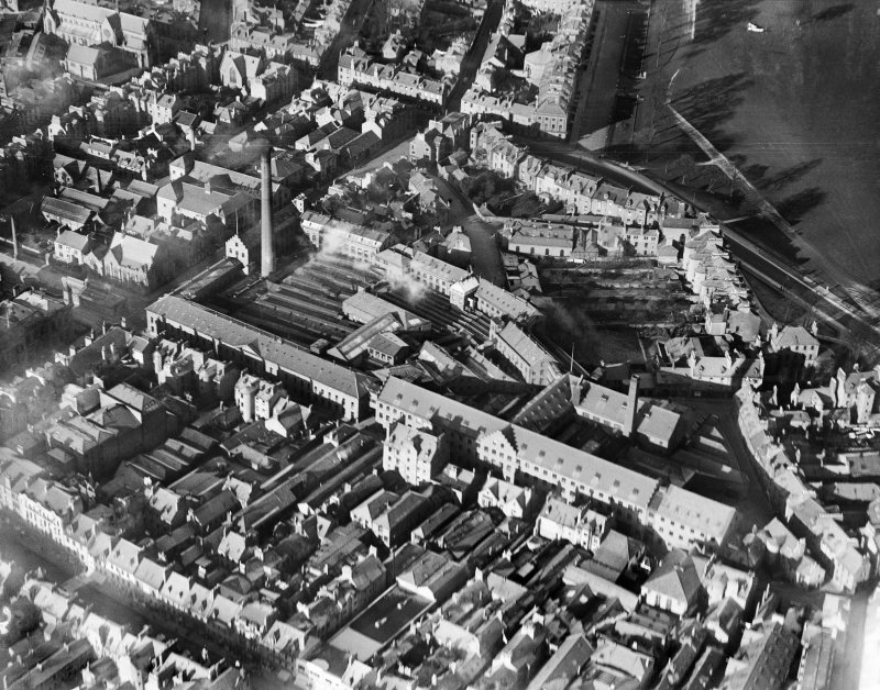 J Pullar and Sons Ltd. Dye Works, Kinnoull and Mill Streets, Perth.  Oblique aerial photograph taken facing north.