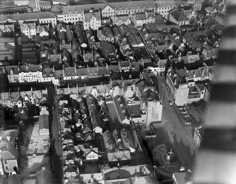 Perth, general view, showing High Street and St John's Square.  Oblique aerial photograph taken facing north.
