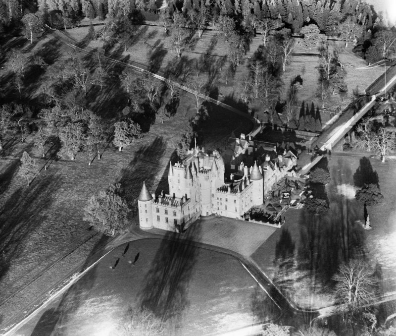 Glamis Castle.  Oblique aerial photograph taken facing north-east.