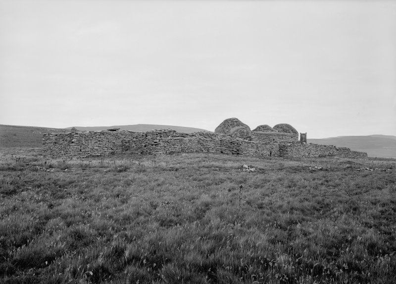 Eynhallow church and domestic buildings. General view from SW.