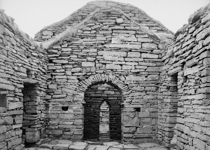 Eynhallow, interior of nave, looking W into porch.