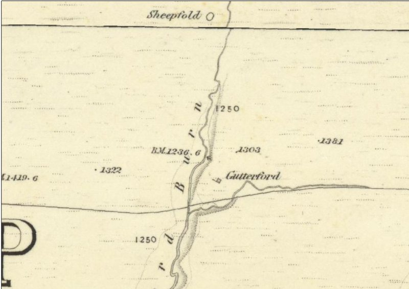 Gutterford as depicted on the 1st Edition of the Ordnance Survey 6-inch map (Edinburghshire 1853-8, sheet xvii)