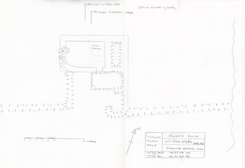 Measured survey of Hare Hill House, Logan Burn drawn at 1:100