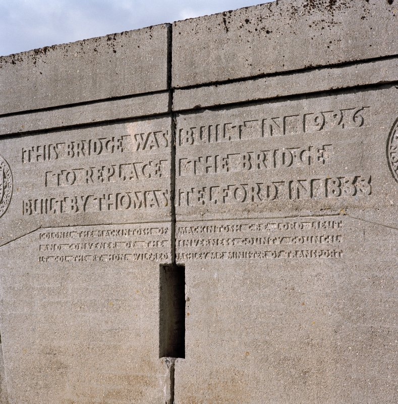 Detail of inscription on parapet, Findhorn Bridge.