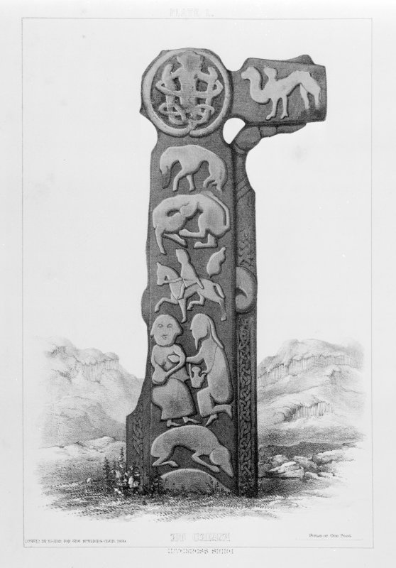 Cross, Canna. From J Stuart, The Sculptured Stones of Scotland, vol. ii, 1867, plate l.