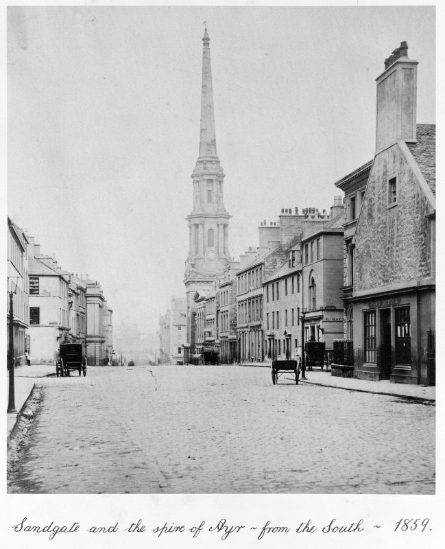 View of Sandgate including Town Hall from SW. Title: Sandgate and the Spire of Ayr - From South - 1859