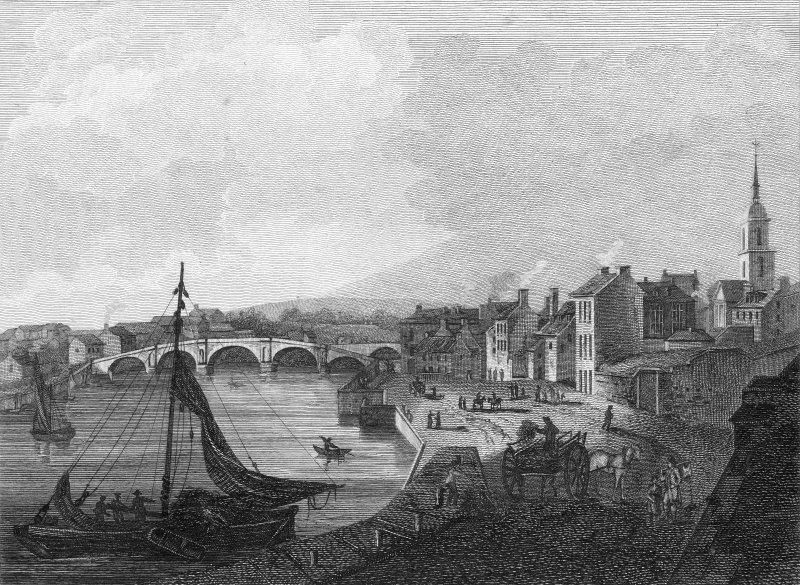 Engraved view of harbour and Auld Bridge. Titled: 'Ayr'