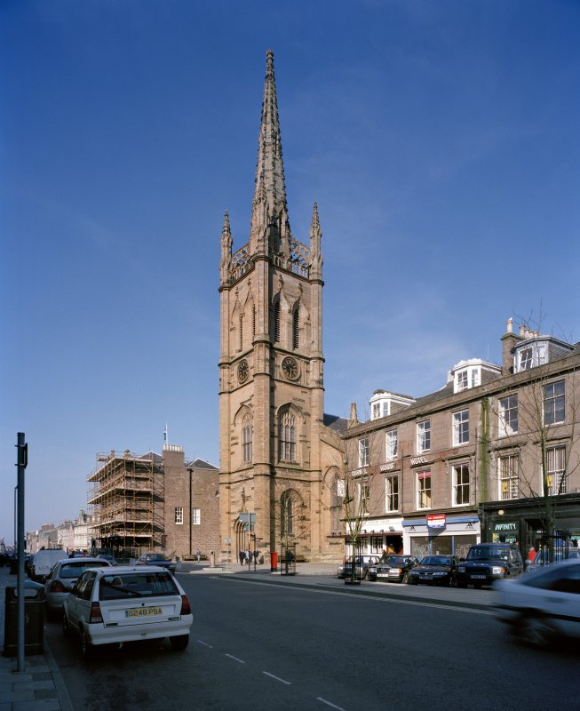 View of Old Parish Church tower and spire, Montrose, from SW.