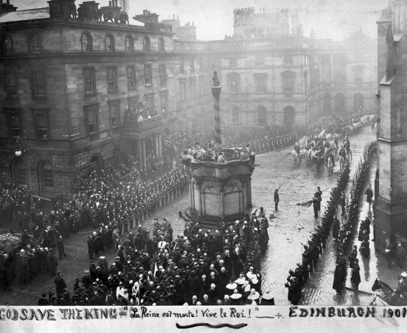 General view of ceremony at Market Cross - After the death of Queen Victoria and succession of Edward VII.