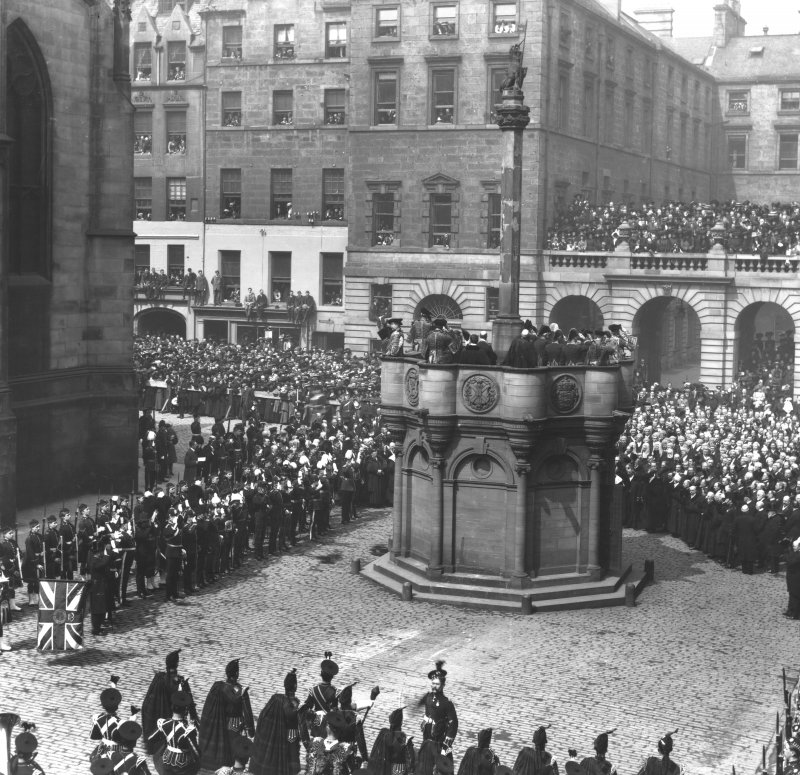 General view of Market Cross during ceremony, possibly the death of Edward VII.