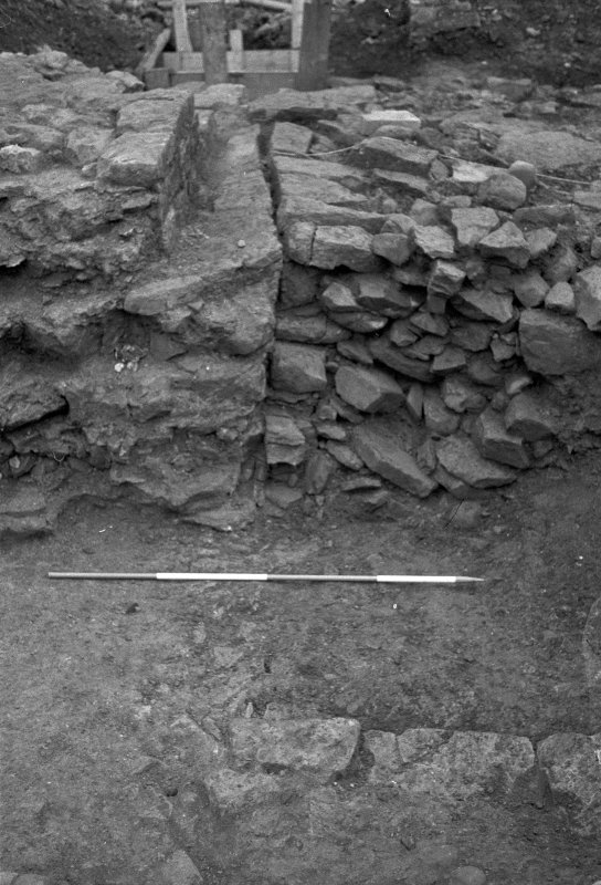 Jedburgh Abbey excavation archive Frame 2: Room 6: walls 1079, 1115 and 1125, from N
