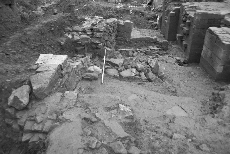 Jedburgh Abbey excavation archive Frame 12: Trench J: wall 1049, from N