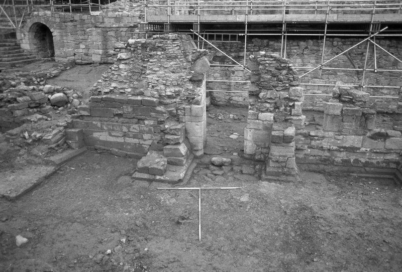 Jedburgh Abbey excavation archive Frame 33: Area 2: Trench G: E extension (S of infirmary) after first clean. From S.