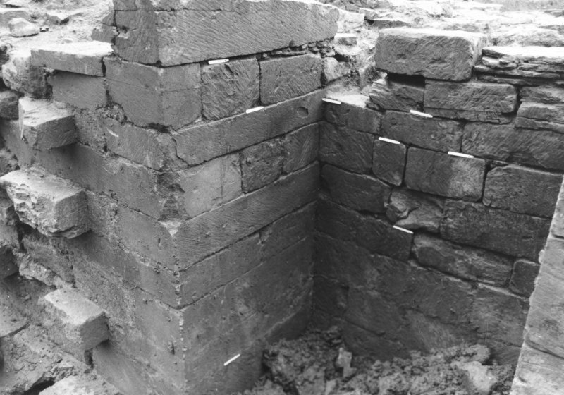 Jedburgh Abbey excavation archive  Wall 116; buttress 940. Masons' marks X21, X22, X23, X24, X25, X26, X27, X28, X29, X30, X93.