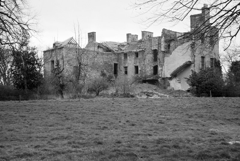 General view from N showing Hermanston in derelict state.
