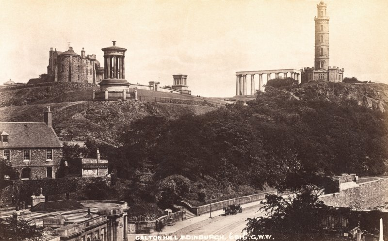 Historic photograph showing view of Calton Hill and the Rock House studio of the photographer Alexander Inglis from SW.  Titled: 'Calton Hill, Edinburgh, 6816, G.W.W'.