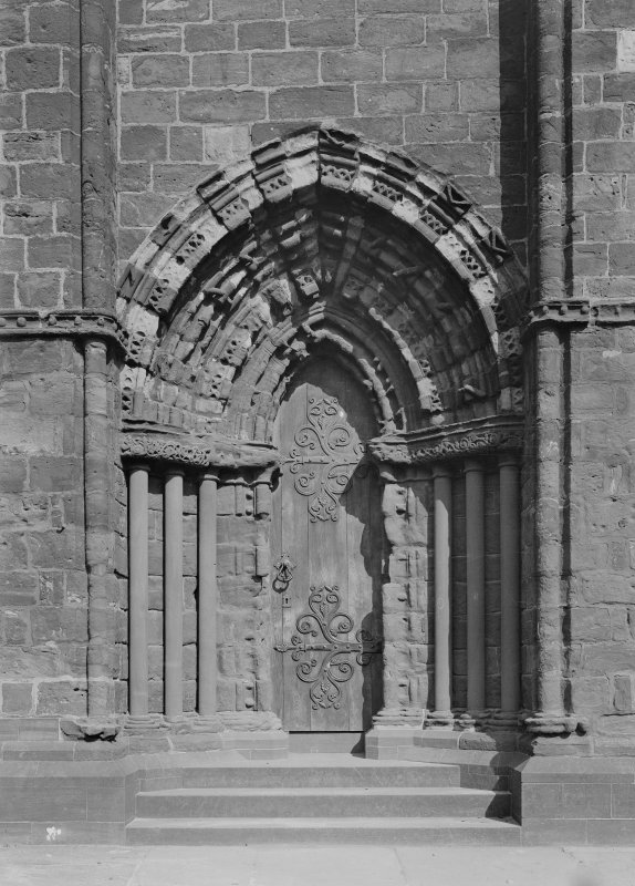 Detail of S doorway of W front.