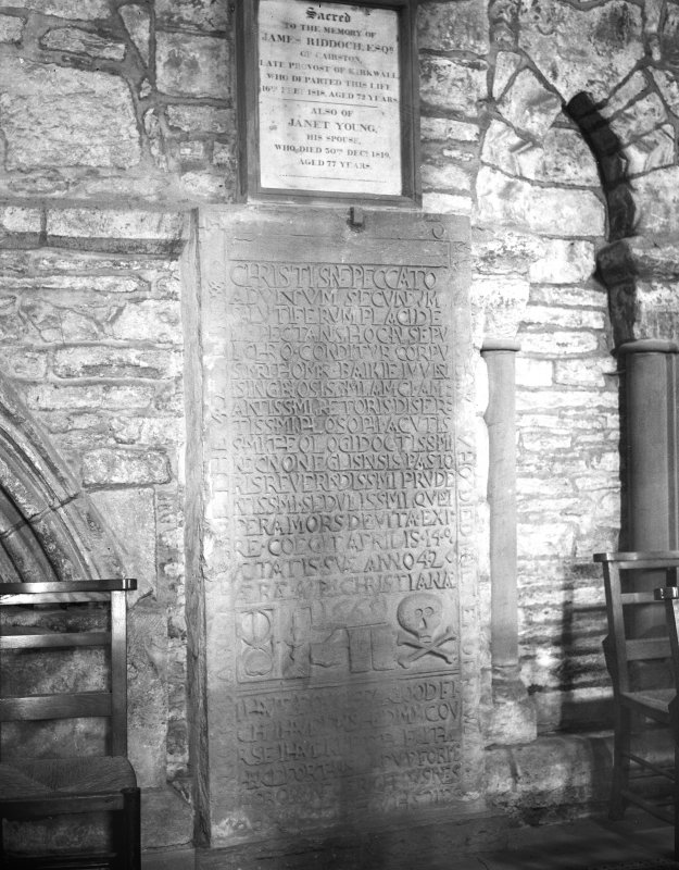 Detail of tombstone of James and Thomas Baikie.
