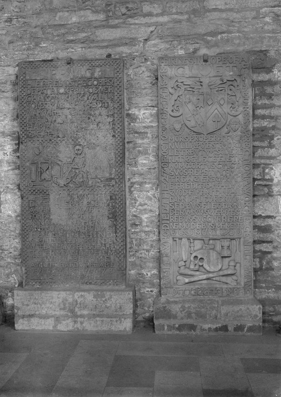 Detail of tombstones of George Lidell and Patrick Prince.