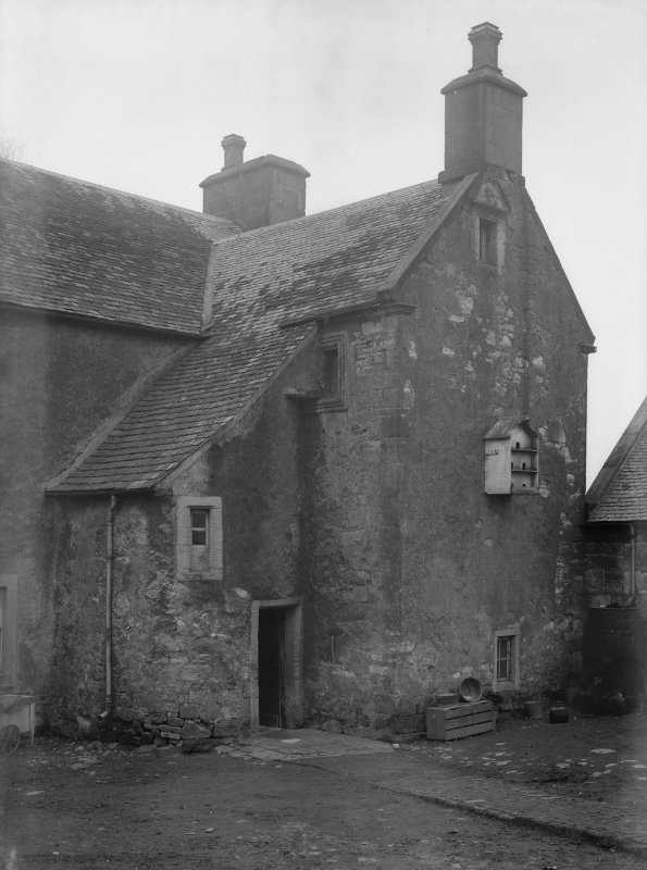 View of gable end and adjacent doorway, Monkredding House.