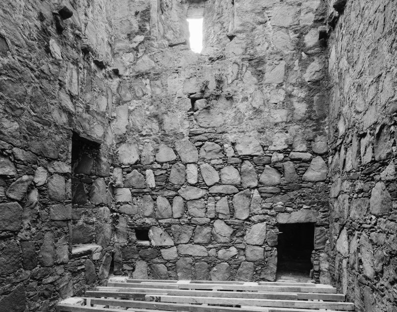 Interior. First floor, view of keep from N.