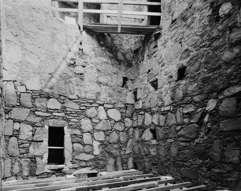 Interior. First floor, view of keep from S.