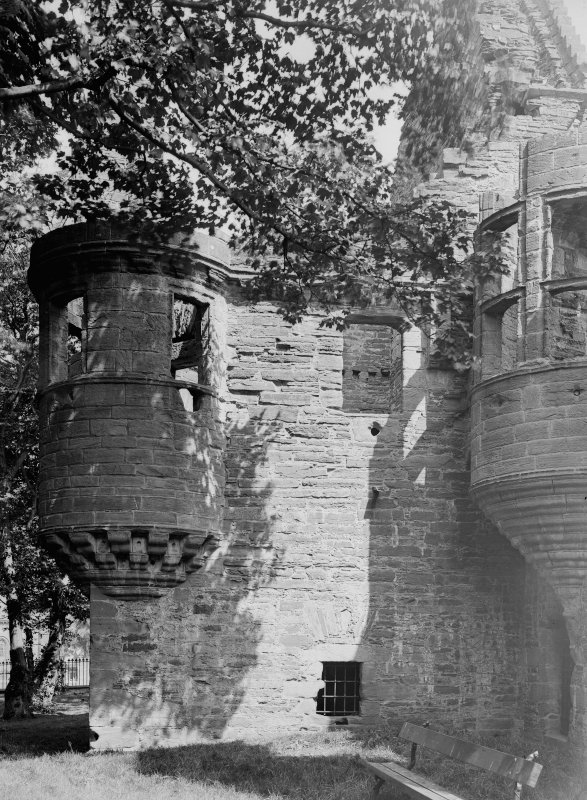 Detail of angle turret and oriel.