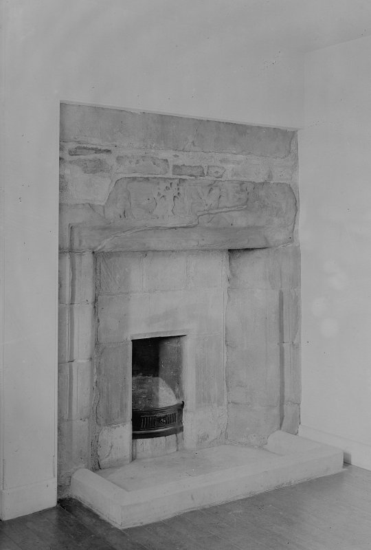 Interior.View of fireplace.