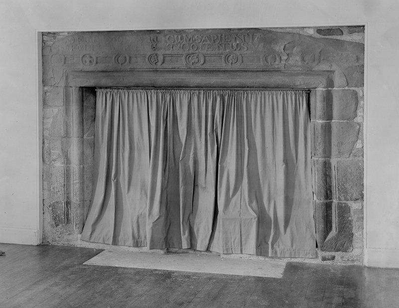 Langskaill House, view of fireplace.
