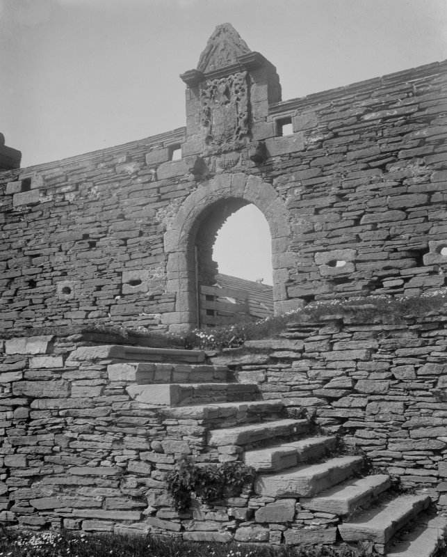 Interior. View of stair leading up to gateway.