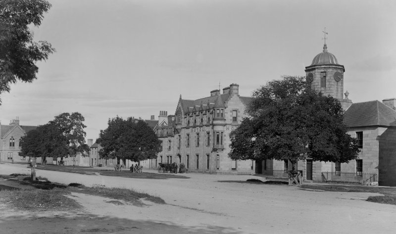 View of The Square showing the Grant Arms Hotel and part of Speyside House.