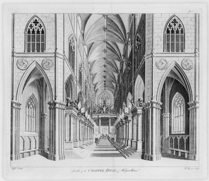 Photographic copy of engraving showing interior view of Holyrood Abbey. Copied from Vitruvius Scoticus, Plate 5. Engraved by P Mazell; drawn by Wyck.