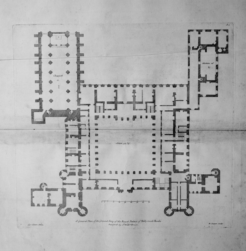 Photograph of drawing showing Ground Plan Copied from Vitruvius Scoticus Plate 1 Delin. William Adam