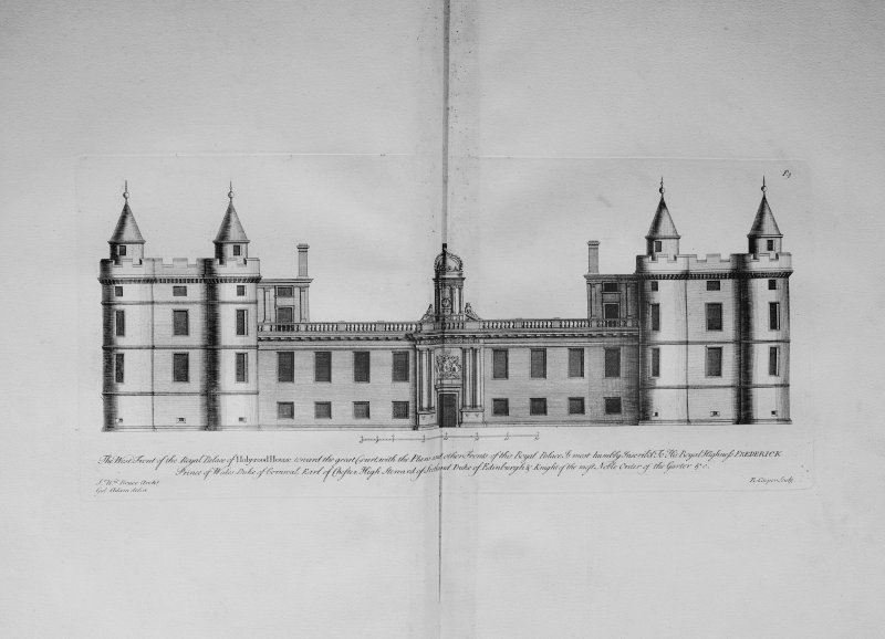 Photograph of drawing showing West Front towards the Great Court Copied from Vitruvius Scoticus Plate 3 Delin. William Adam