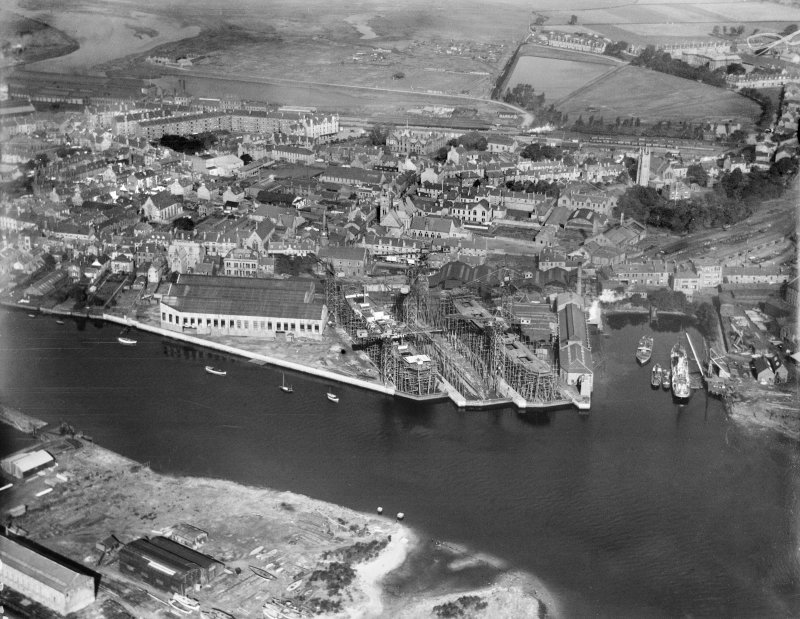 Dumbarton, general view, showing shipyard and Riverside Parish Church.  Oblique aerial photograph taken facing north.