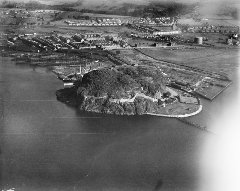 Dumbarton, general view, showing Dumbarton Castle and shipyards.  Oblique aerial photograph taken facing north-east.